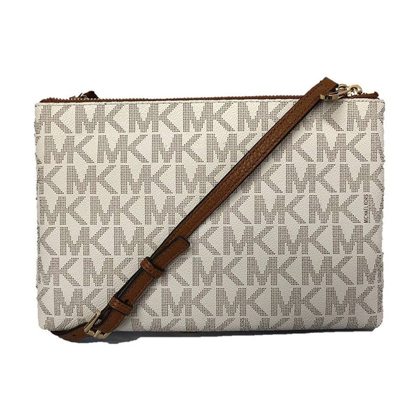 11512db2181a ... Michael Kors Jet Set Travel Double Zip Crossbody (35F7GTVM3B)  Vanilla Acrn ...