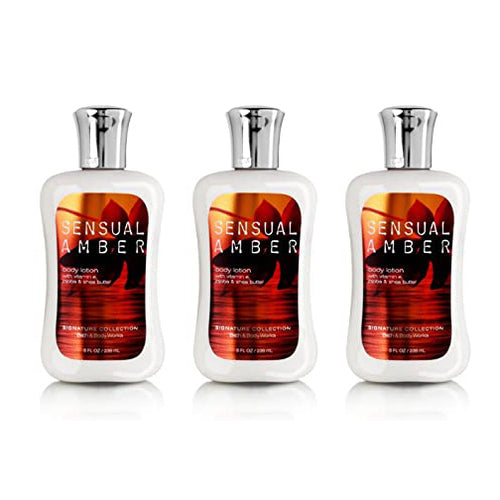 "Bath Body Works Sensual Amber 8.0 Oz Body Lotion ""3-PACK"""