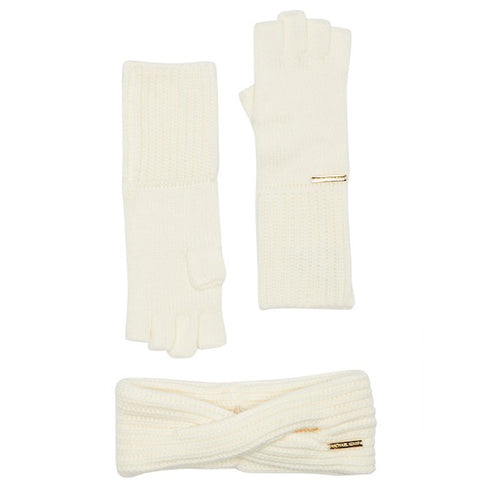 Michael Kors Headband and Fingerless Glovet Set (Cream) (537422)