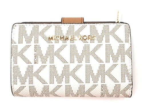 Michael Kors Jet Set Travel Bifold Zip Coin Wallet Clutch Vanilla (35F7GTVF2B)