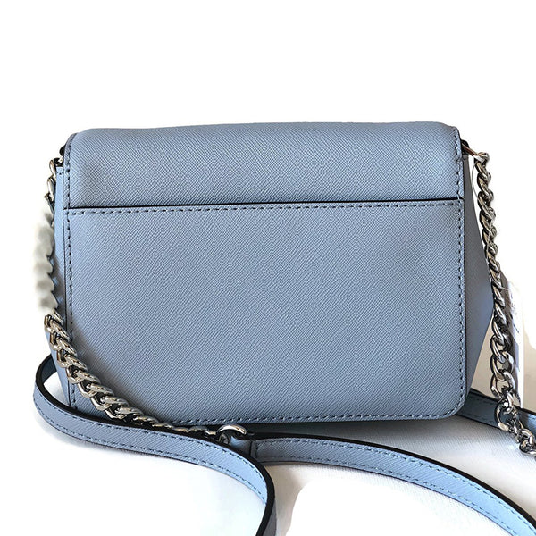 Michael Kors Tina Small Leather Clutch Crossbody Bag Pale Blue (35F7GT4C1L)