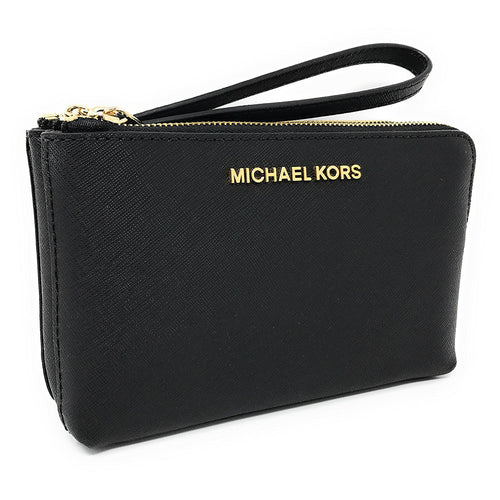 Michael Kors Jet Set Travel Large Double Gusset Wristlet Bag Black (35H7GTVC7L)