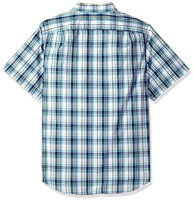 Nautica Men's Short Sleeve Plaid Button Down Shirt Cameo Blue (W81150)