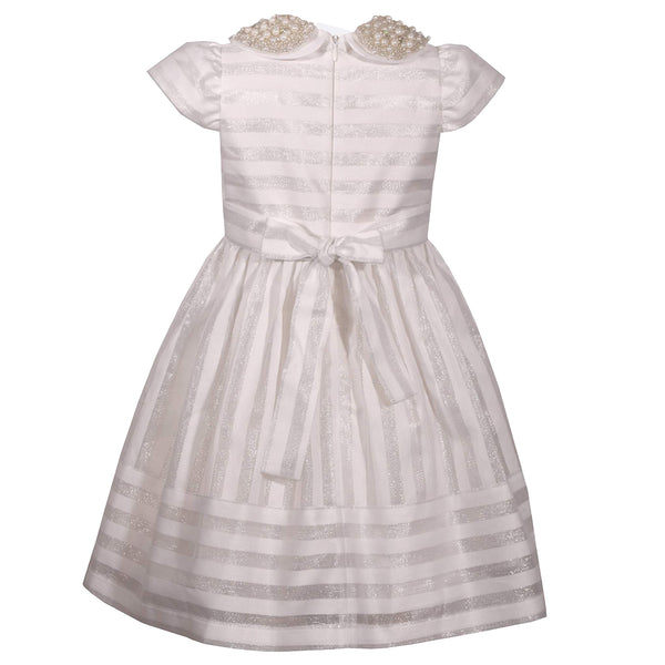 Bonnie Jean Little Girls London Striped Dress Ivory