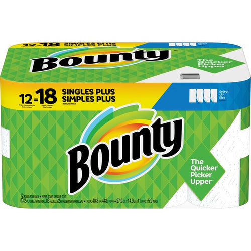 Bounty Select-A-Size Paper Towels White 12 Singles Plus Rolls = 18 Regular Rolls