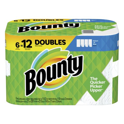 Bounty Select-A-Size Paper Towels White 6 Doubles Rolls = 12 Regular Rolls