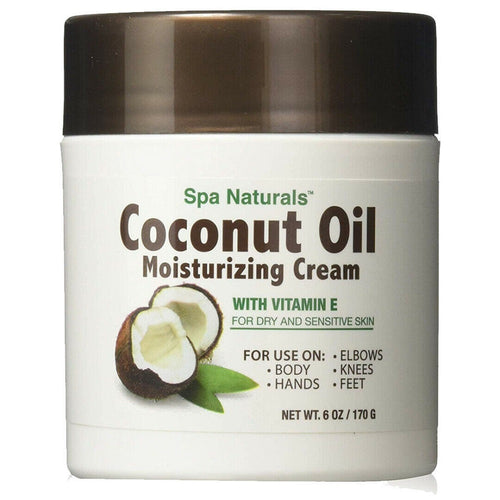 Coconut Oil Moisturizing Cream Vitamin E/Dry Sensitive Skin Spa Naturals 6 oz
