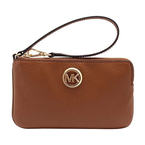 Michael Kors Fulton Large Top Zip Leather Wristlet Clutch Wallet Luggage