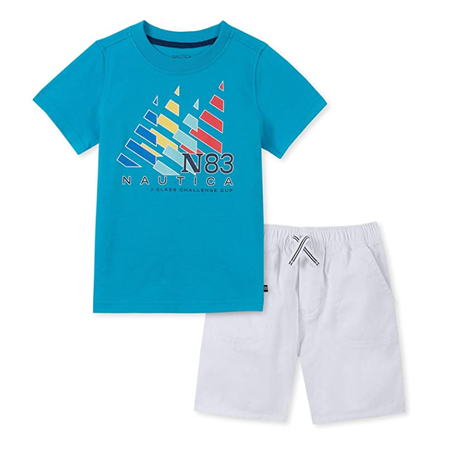 Nautica Toddler Boys' Two Piece Set with V-Neck Pocket Tee and Pull on Short