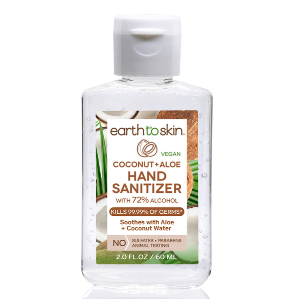 Hand Sanitizer Gel, 2 oz  Coconut + Aloe Scent With 72% Alcohol by Earth to Skin  (6 Pack)