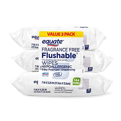 Equate Fragrance Free Flushable Wipes Value Pack, 48 count, 3 pack = 144 Wipes