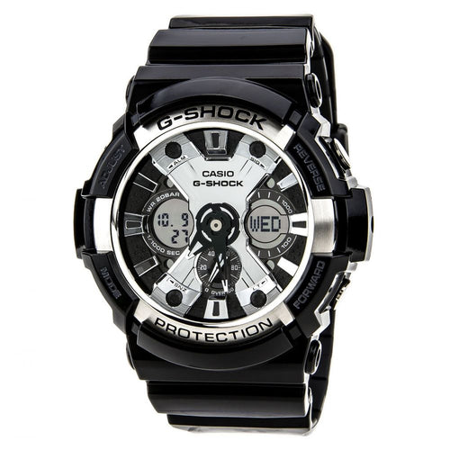 Casio Men's G-Shock Analog-Digital Black Resin Watch (GA-200BW-1A)