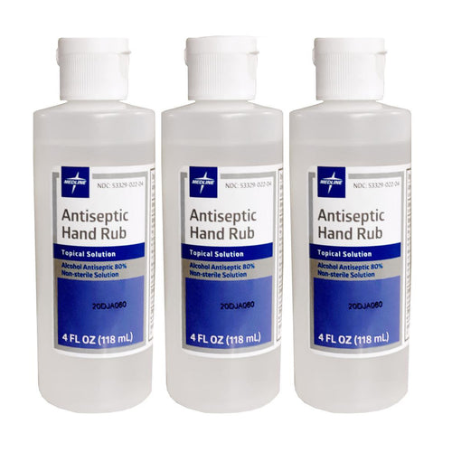 "Antiseptic Hand Rub 4 oz. Flip Top Bottle, 80% Ethyl Alcohol ""3-PACK"""