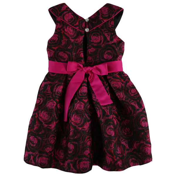 Bonnie Jean Girls Shimmering Floral Brocade Dress