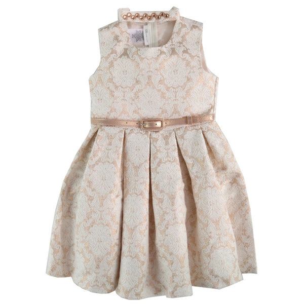 Bonnie Jean Girls Metallic Damask Dress with Belt