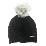 Michael Kors Womens 2 Piece Knit Pom Hat and Scarf Set Black (537421)