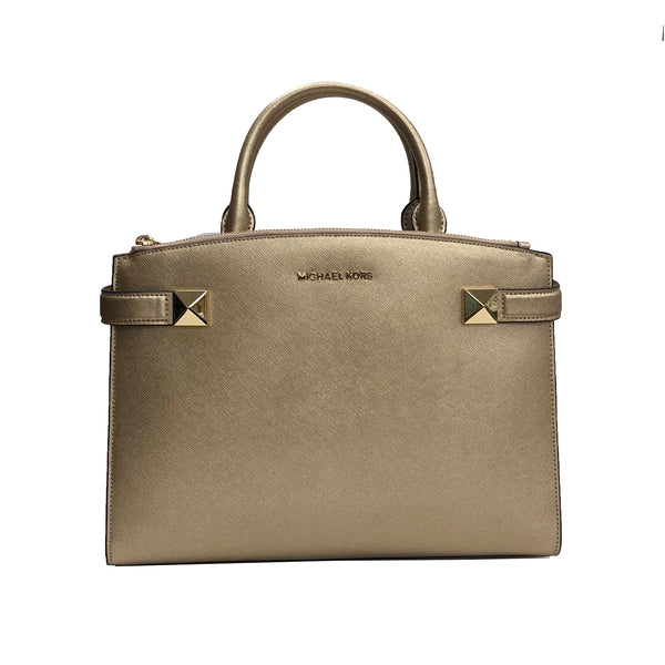 Michael Kors Karla MD Satchel Pale Gold Leather (35T8MKGS2M)