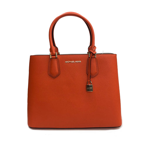 Michael Kors Adele MD Leather Messenger Bag in Clementine/Ballet