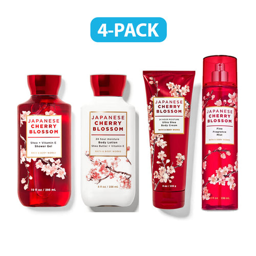 "Bath & Body Works Japanese Cherry Blossom Fragrance Mist, Body Lotion, Shower Gel & Body Cream ""4-PACK"""