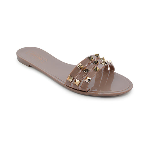 Victoria Adames St Marteen Jelly Sandals Dark Beige
