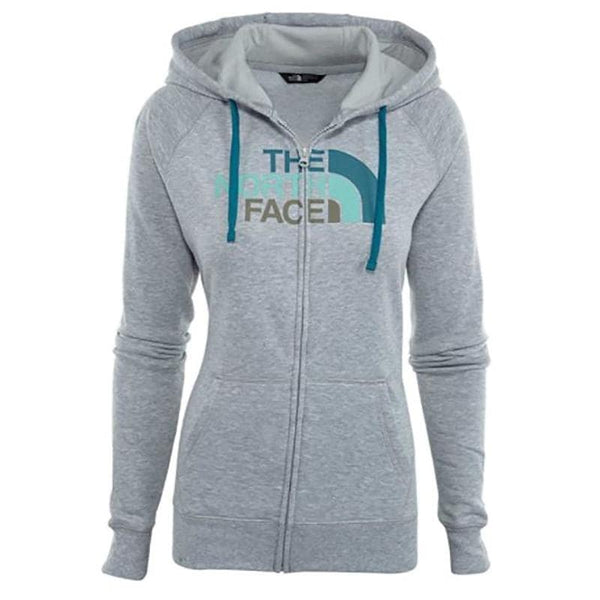 The North Face Womens Half Dome Full Zip Hoodie Light Grey/Harbor Blue (NF00CH2UUKB)