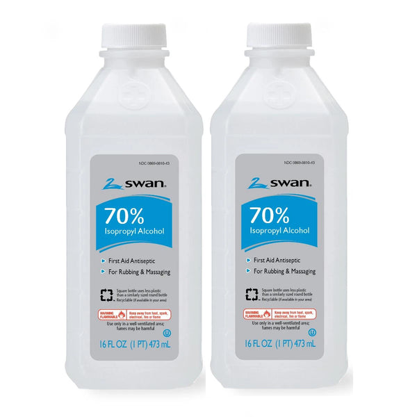 Swan First Aid Antiseptic 70% Isopropyl Rubbing Alcohol 16 FL OZ (2 PACK)