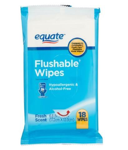 Equate Flushable Wipes, 18 ct, 5/pk, 90 wipes in total
