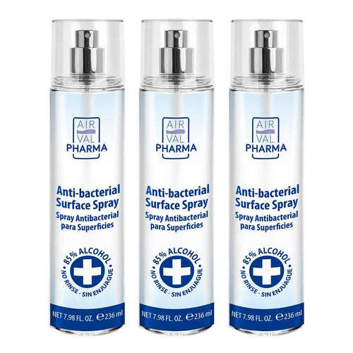 "Anti-bacterial Surface Spray 85% Alcohol 7.98 oz ""3-PACK"" By Air Val Pharma"