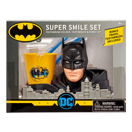 Batman Super Smile Set - Toothbrush Holder, Toothbrush & Rinse Cup