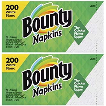 Bounty Everyday Paper Napkins, White Print, 200 Count x 2 = 400 count (Pack of 2)