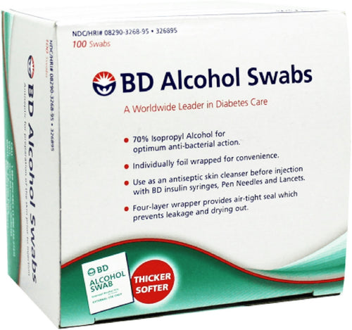 BD Alcohol Swabs 100 Each Box