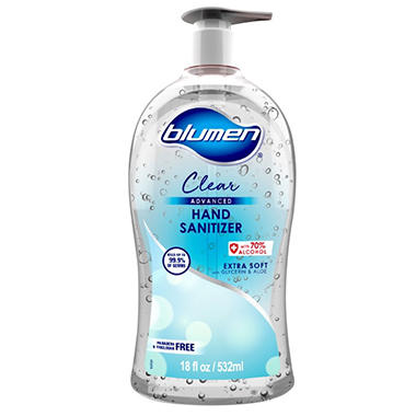 Advanced Hand Sanitizer, 18 oz Bottle  - 532 ml by Blumen, Soft Fresh, 70% Alcohol