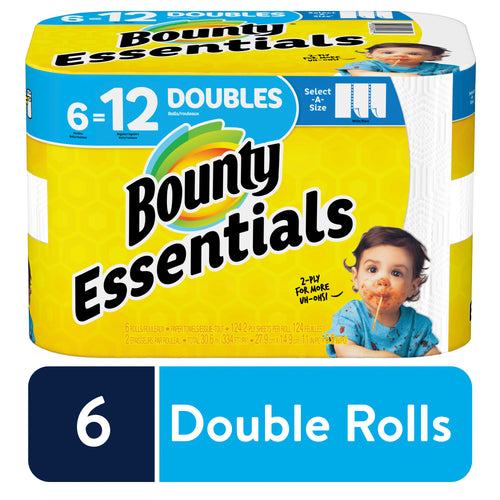 Bounty Essentials Select-A-Size Paper Towels, White, 6 Double Rolls = 12 Regular Rolls