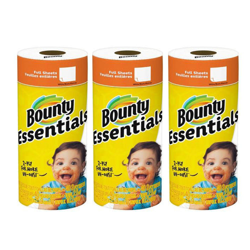 Bounty White Essentials Paper Towels - White Paper Towels (Pack of 3 Rolls)