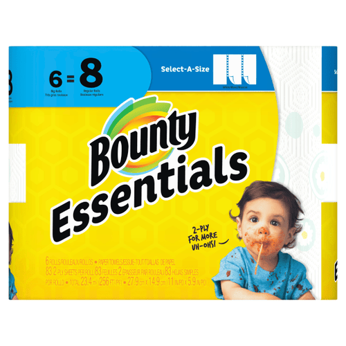 Bounty Essentials Select-A-Size Paper Towels, White, 6 Big Rolls = 8 Regular Rolls