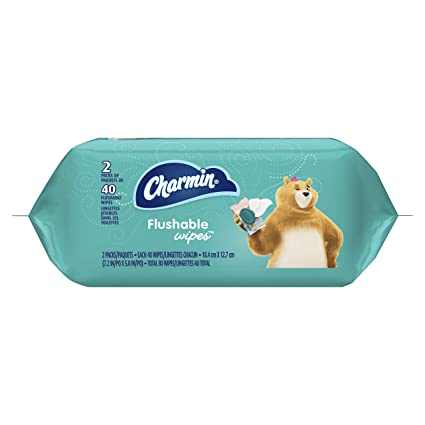 Charmin Flushable Wipes, 2 packs of 40 Flushable Wipes, 80 Total Wipes