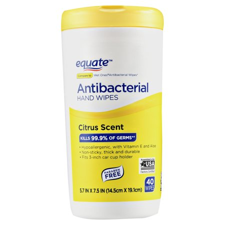 Equate Antibacterial Hand Wipes, Citrus Scent, 40 Ct (Kills 99.9% of germs)