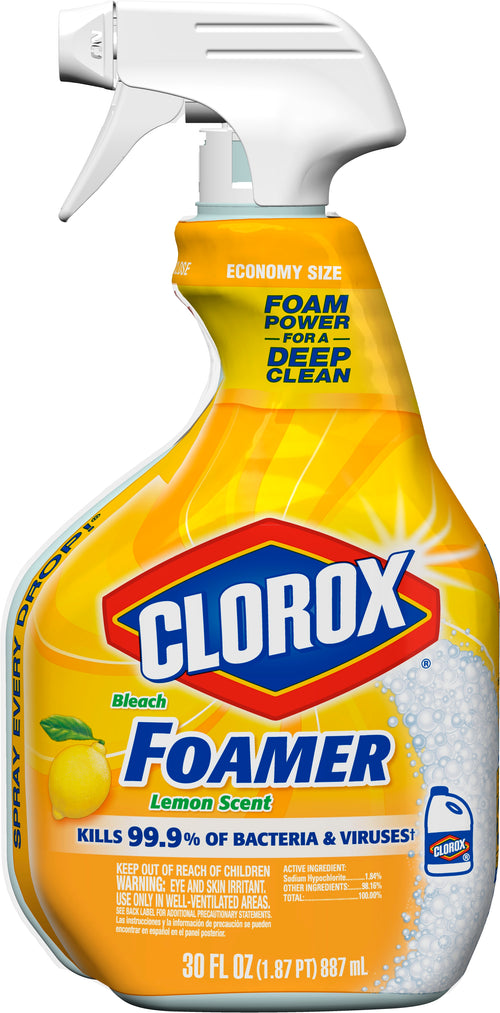 Clorox Bathroom Foamer with Bleach, Spray Bottle, Lemon Scent, 30 Ounces