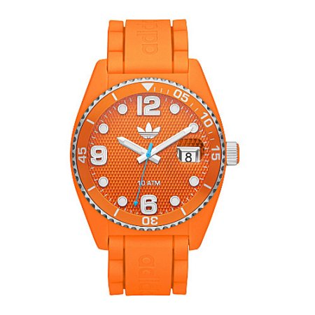 Adidas 43mm Plastic Case Orange Silicone Mineral Watch (ADH6157)