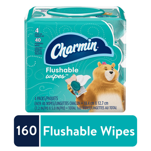 Charmin Flushable Wipes 4-PACK, 160 Total