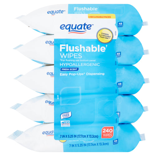Equate Flushable Wipes Fresh Scent 5-PACK of 48 wipes = 240 total