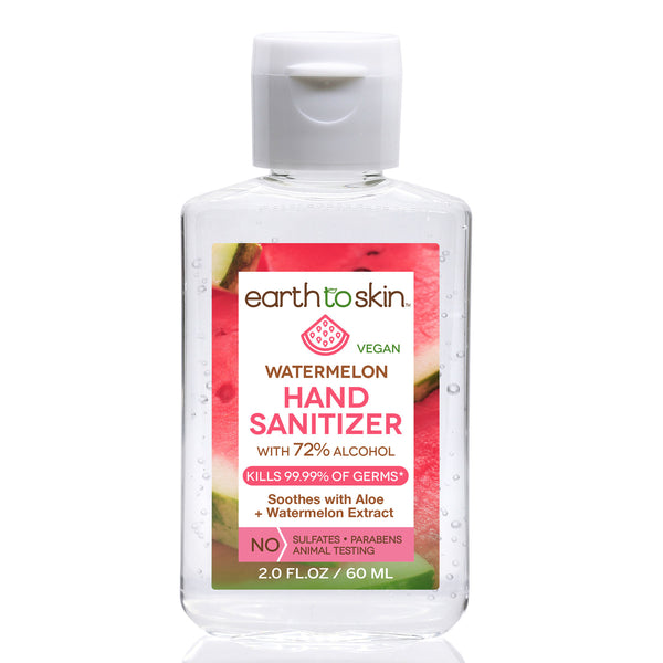 Hand Sanitizer Gel, 2 oz Watermelon Scent With 72% Alcohol by Earth to Skin (6 Pack)