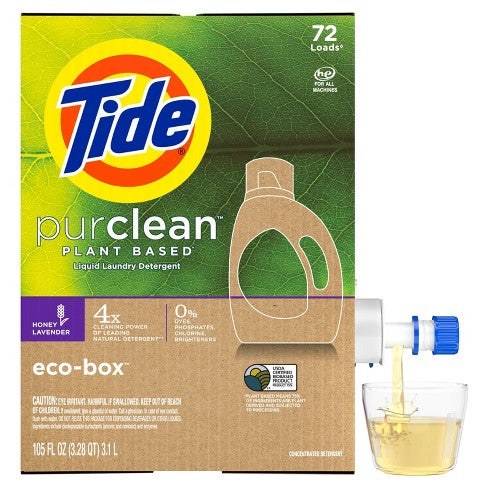 Tide Purclean Plant-based Honey Lavender Liquid Laundry Detergent Eco-Box HE Compatible 105 fl oz