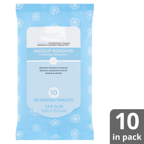 Equate Beauty Makeup Remover Cleansing Towelettes, 10 count (Pack of 3)