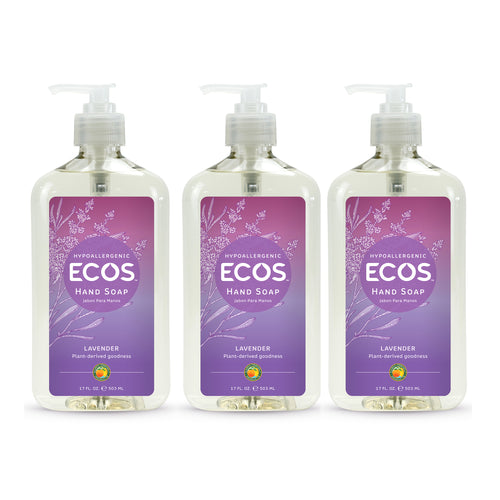 "Hypoallergenic Hand Soap Lavender 17 oz ""3-PACK"" by ECOS"