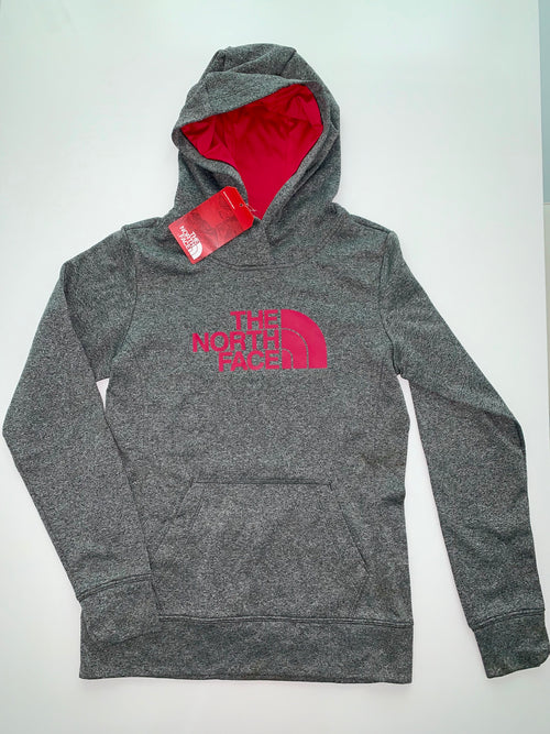 The North Face Women's Fave Pullover Hoodie-Heather Grey/Rose Red