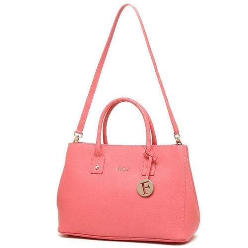 Furla Saffiano Linda Tote Peonia Pink Leather Shoulder Bag (768285)