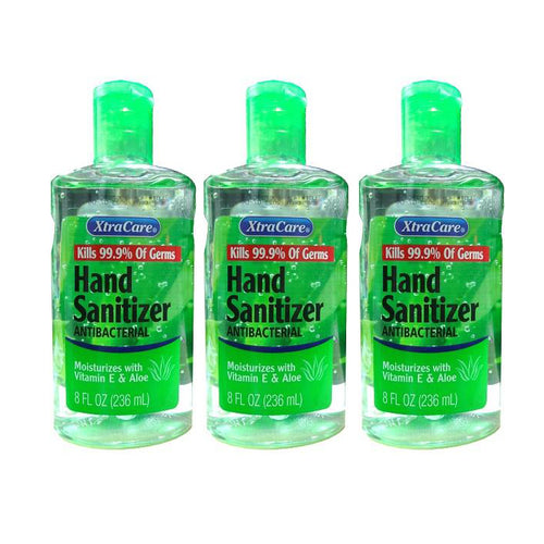 XtraCare Hand Sanitizer 8oz Moisturizes with Vitamin E & Aloe, 8 oz. (Pack of 3)