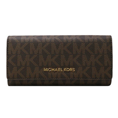 Michael Kors Jet Set Travel PVC Carryall Lettering Wallet Brown (35H6GYAE7B)
