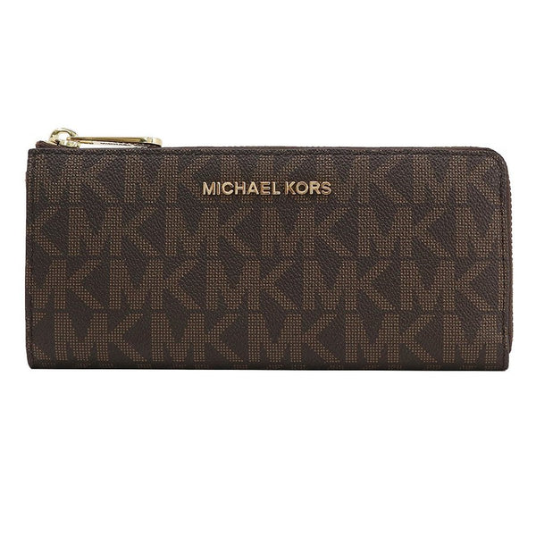 b142f98babcf Michael Kors Jet Set Travel PVC Signature Large Wallet in Brown  (35H7GTVE3B) ...